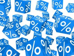 Many floating blue percent cubes