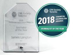 Journalist of the Year award, with badge