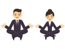 cartoon businessman and woman in formal suits meditating