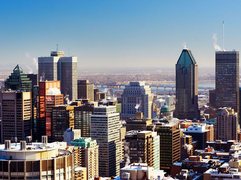 Montreal downtown skyscrapers in winter