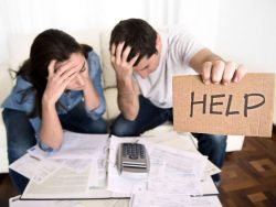 stressed young couple worries about their finances