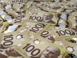 close up view of new 100 Canadian dollar banknotes