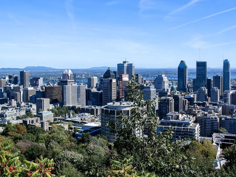 Skyline of downtown Montreal in Summer