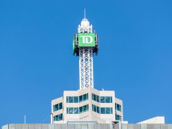 close-up of the top of td canada trust tower building, toronto