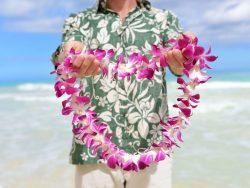 man in hawaiian shirt holding flower lei