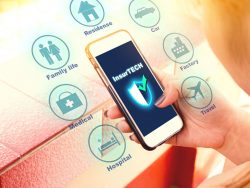 insurance technology (insurtech) concept, woman looking data information on smartphone