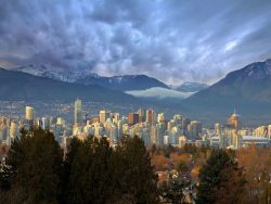 vancouver downtown skyline with mountains