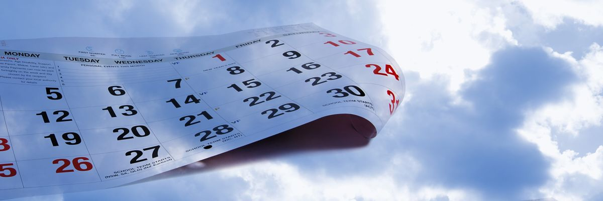 omposite of calendar pages and sky