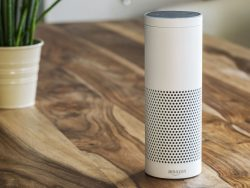 white amazon echo plus, alexa voice service activated recognition system