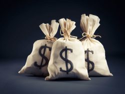 Three stuffed money bags