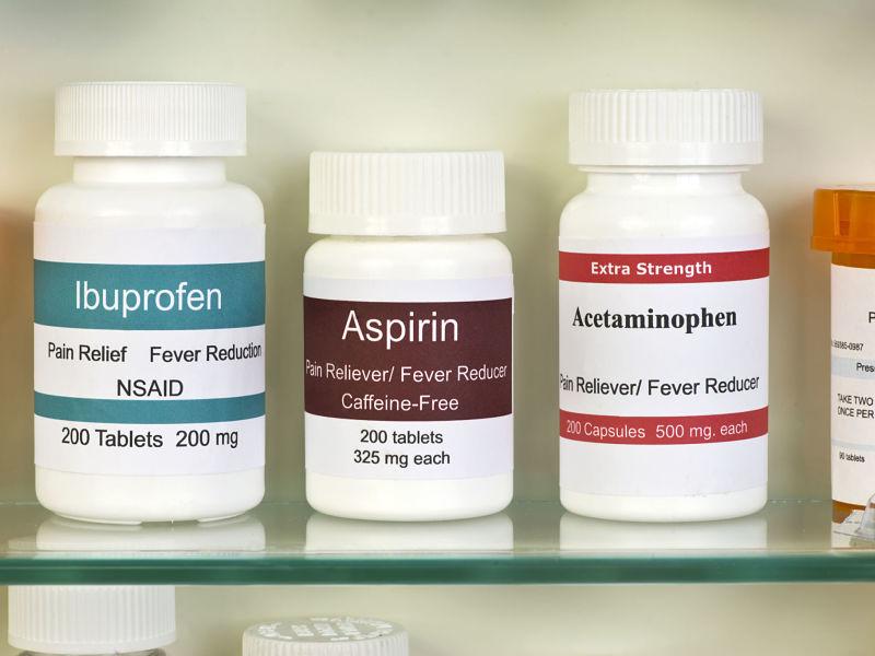 aspirin, ibuprofen, and acetaminophen in medicine cabinet.