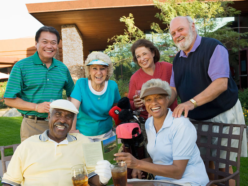 senior golfers, three mixed couples
