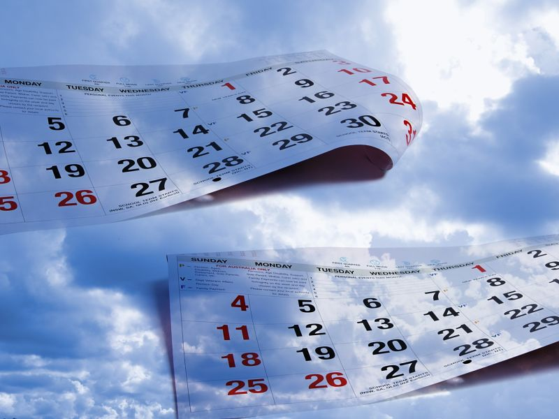 composite of calendar pages and sky