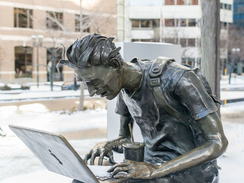 montreal student statue on sherbrooke street.