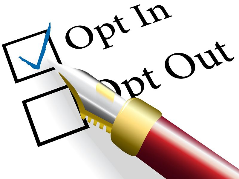 ed fountain pen checks the opt in choice to check mark the option
