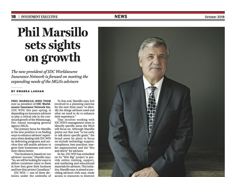 Investment Executive October 2018, page 18, Phil Marsillo sets sights on growth