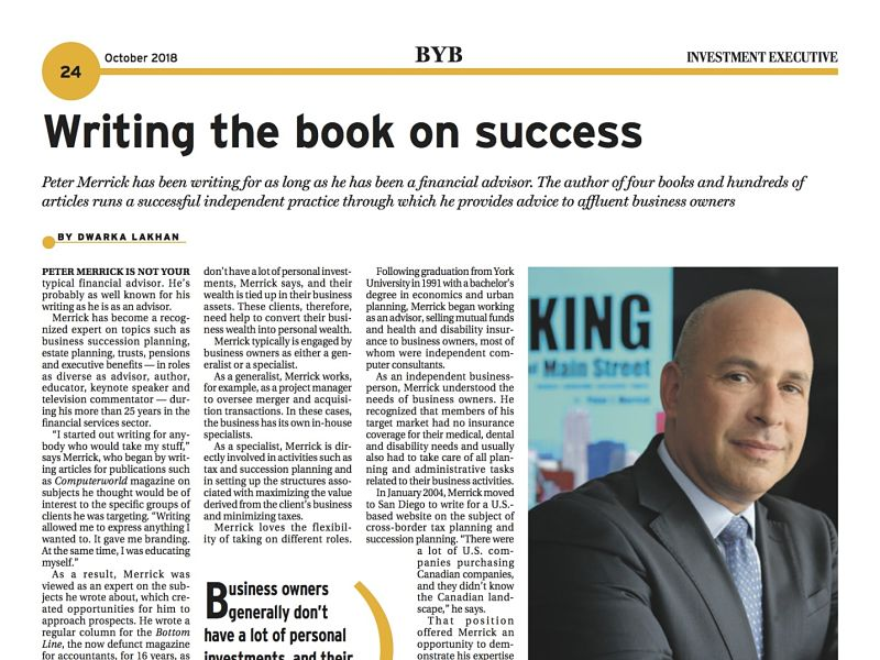 Investment Executive newspaper, October 2018, page 24, Peter Merrick