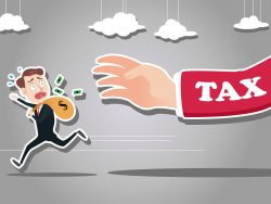 businessman running away from taxman
