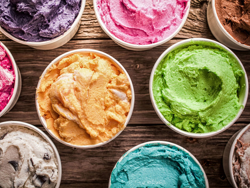 array of different flavored colorful ice creams