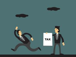 Cartoon businessman running away from tax collector