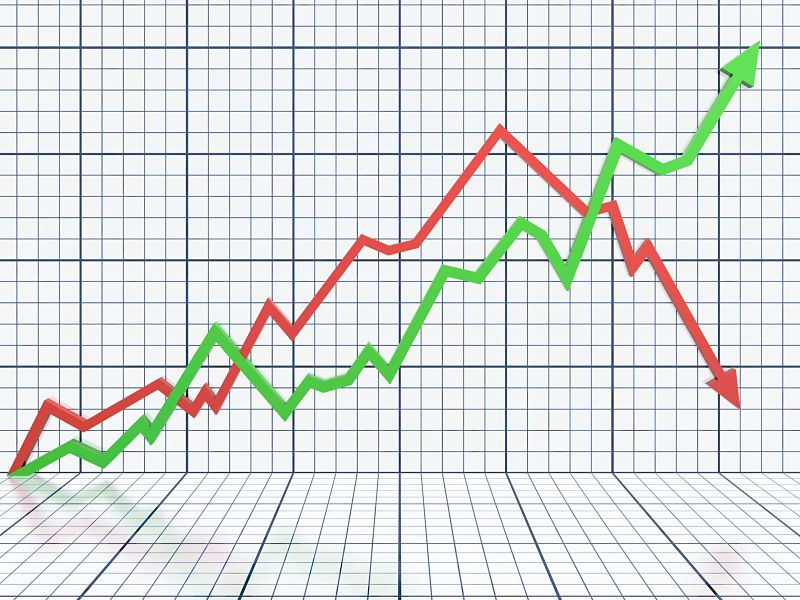 business graph with red and green arrow