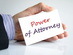 Power of attorney text concept isolated over white background