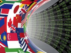 Flags of main countries of the world with display of stock market quotations
