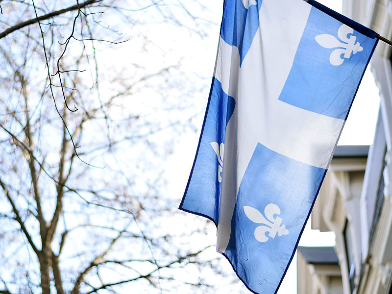 Quebec flag billowing in the breeze