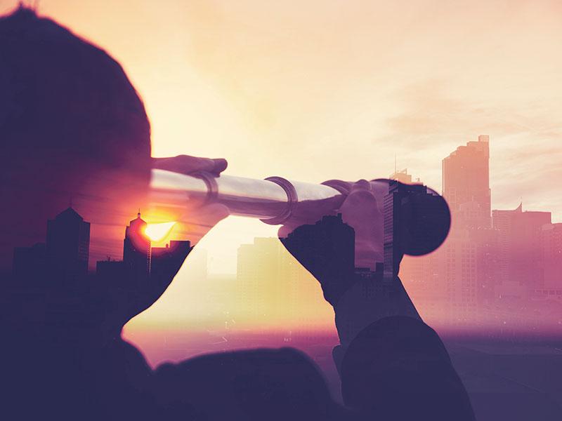 telescope, dawn, skyline, looking to the future
