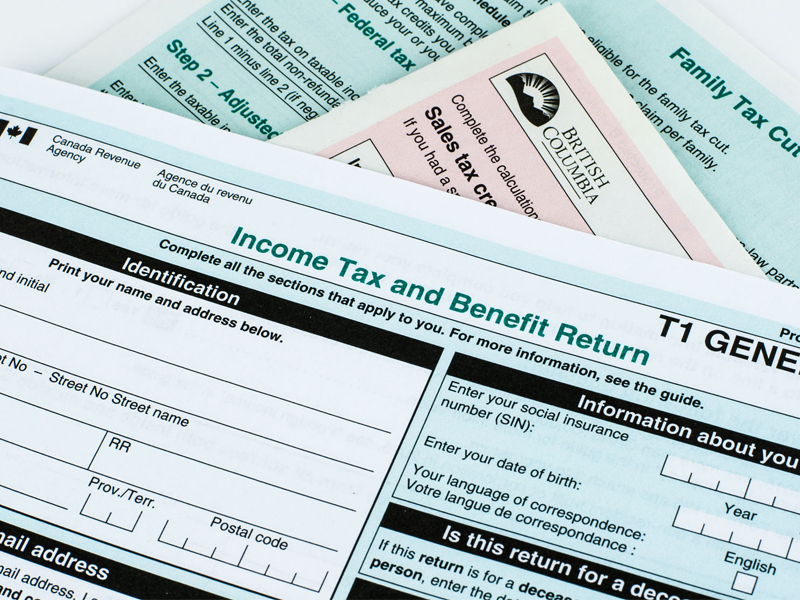 Canadian income tax form