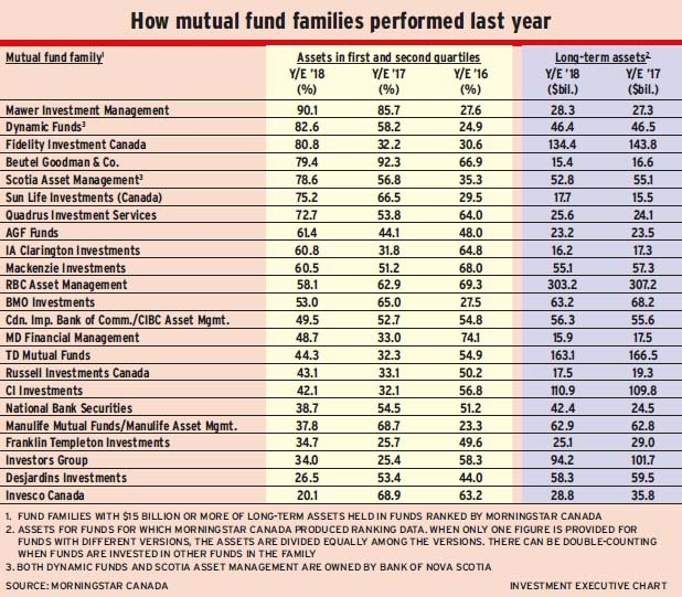 How mutual fund families performed last year