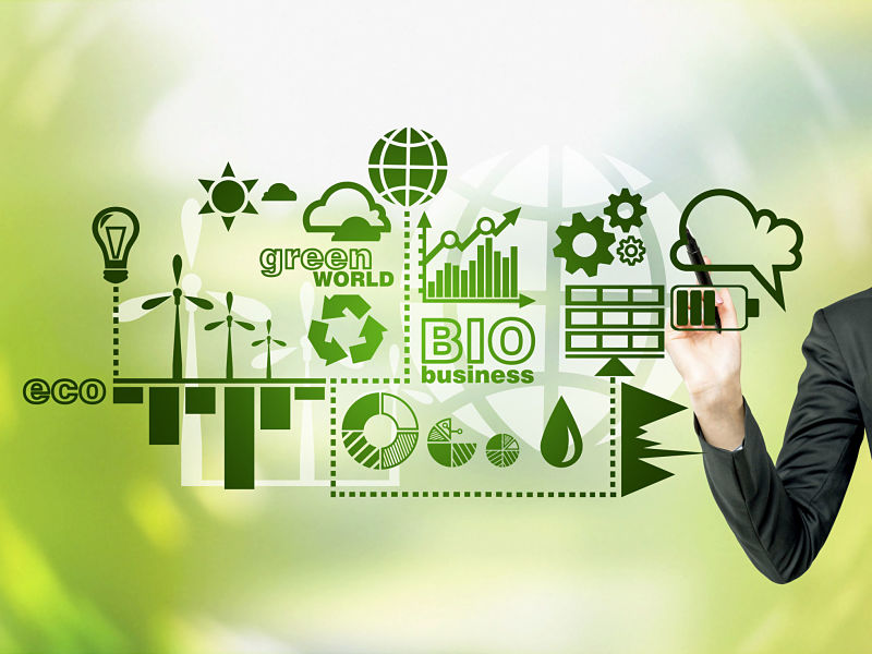 51103421 - a hand painting symbols of alternative energy sources in green. green background. concept of clean environment.