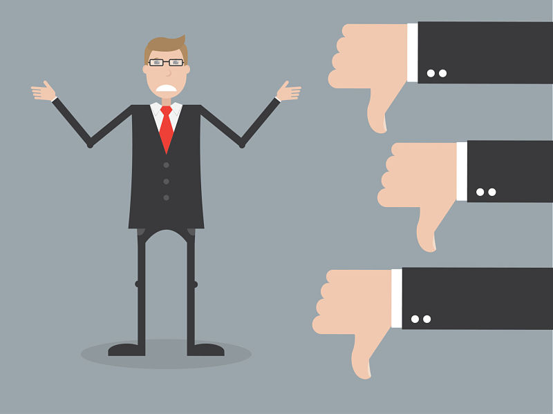 Cartoon of business man with thumbs down