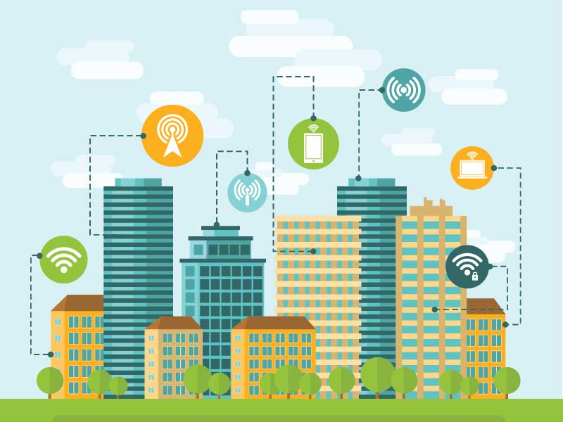 WI-FI icons with buildings