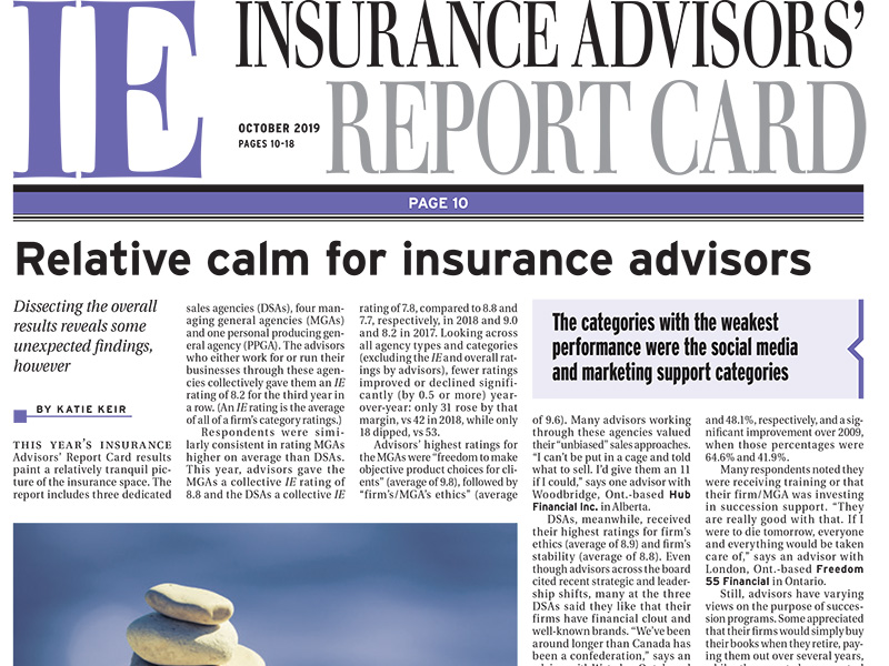 Insurance Advisors' Report Card 2019