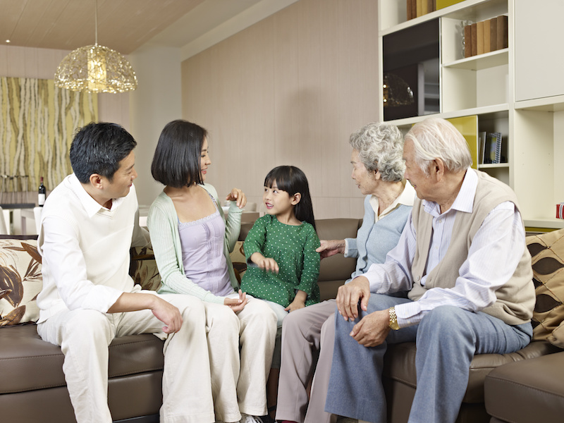 three-generation asian family at home