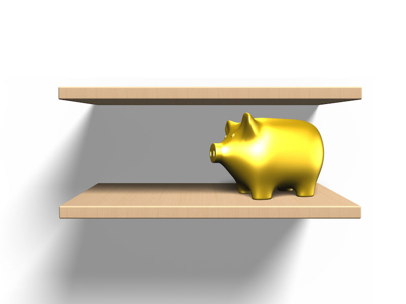 Wooden shelves on the wall with golden piggy bank, isolated on white, 3D illustration.