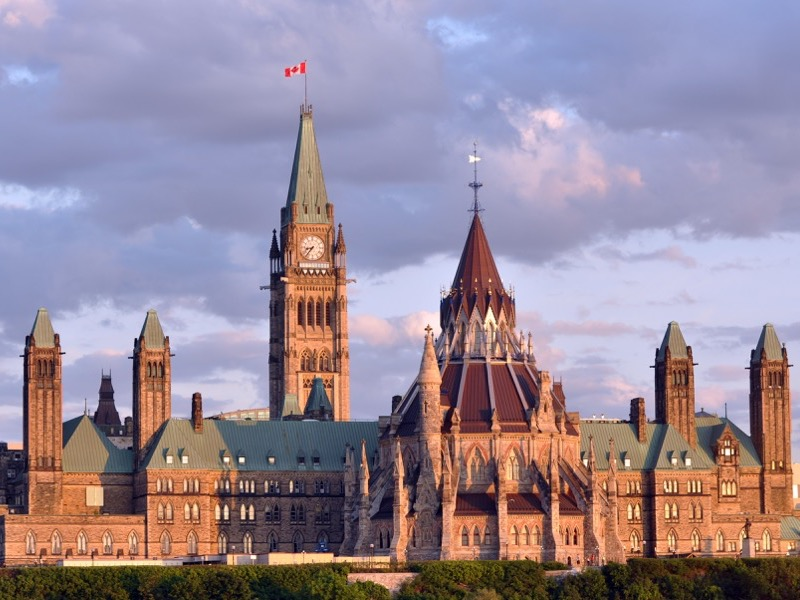 Canadian Parliament Building at Dusk