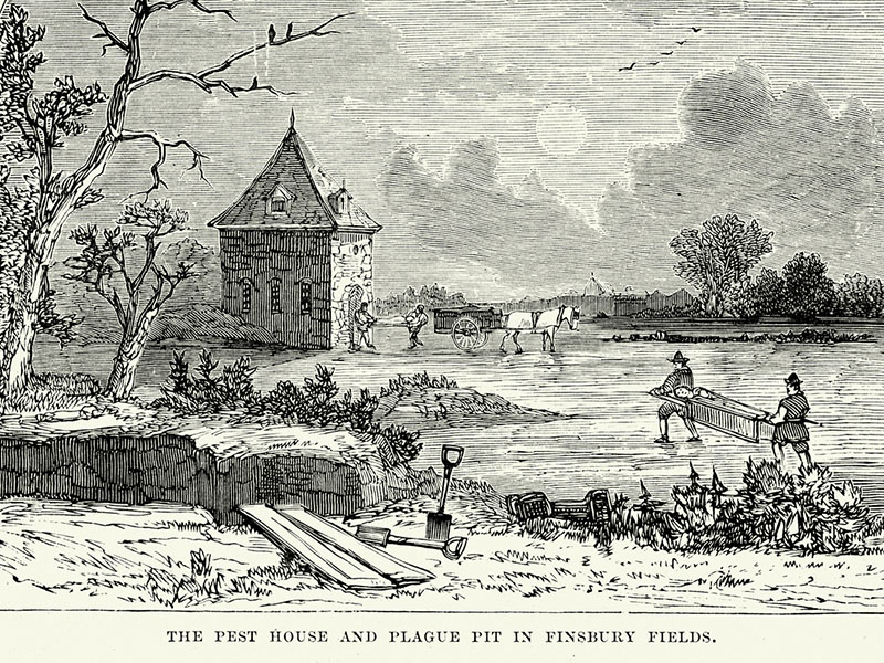 The pest house and Plague Pit in Finsbury Fields during the Great Plague of London 1665 to 1666