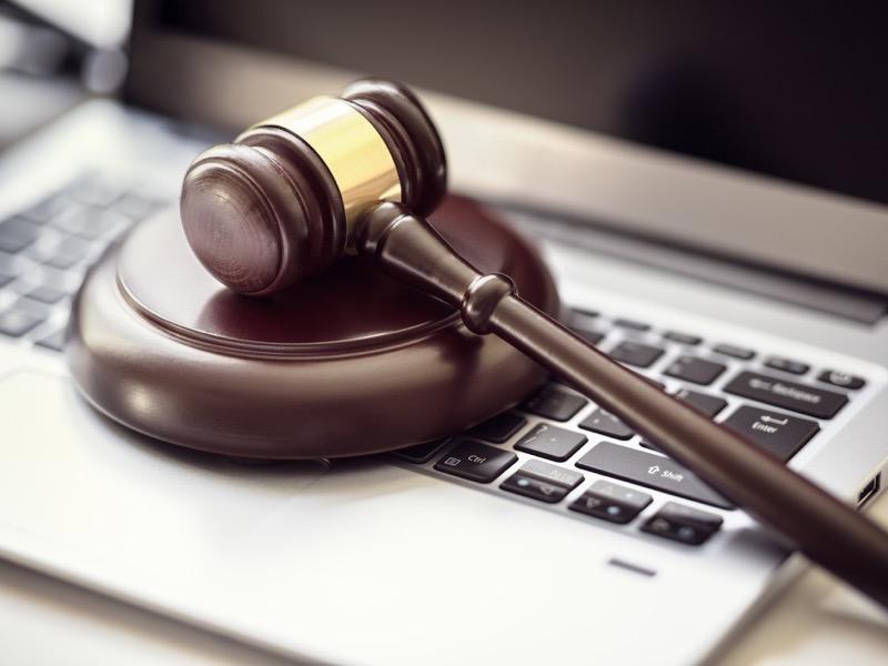 gavel on a laptop