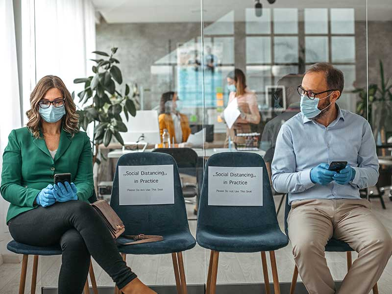 social distancing in a bank during the pandemic