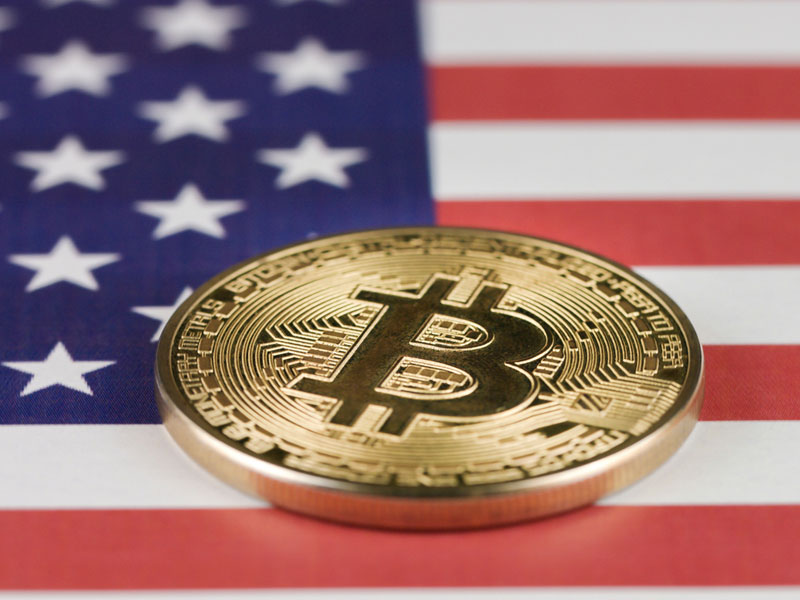 United States flag with Bitcoin cryptocurrency