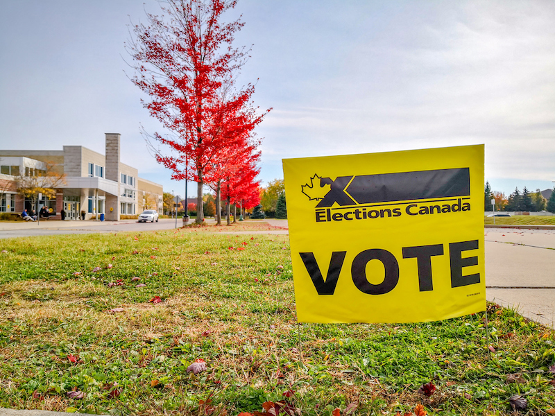 Election sign at Polling Station of Woodbridge, Ontario, Canada