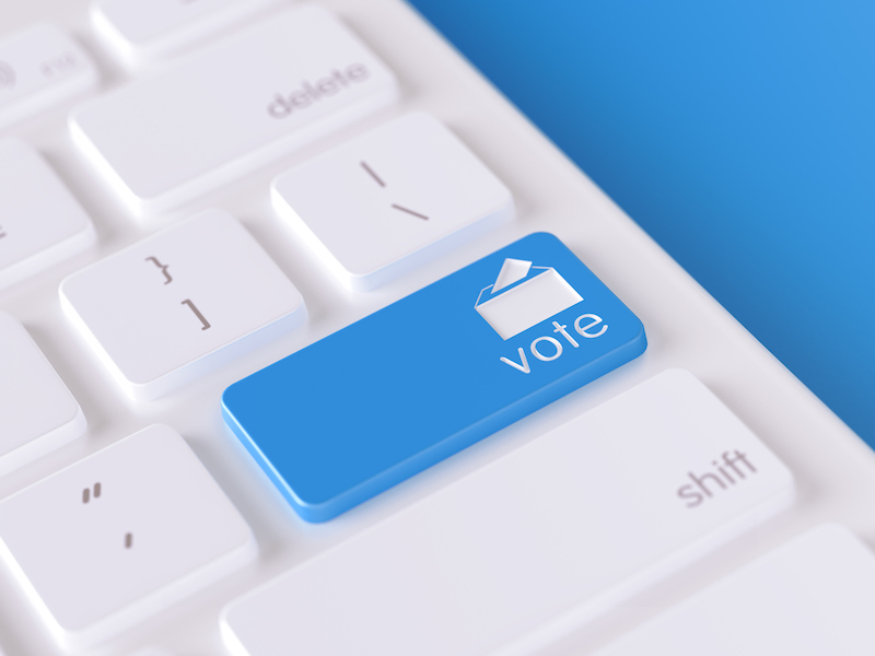 Modern Keyboard Button with Vote Icon - Online Voting and Election Concept