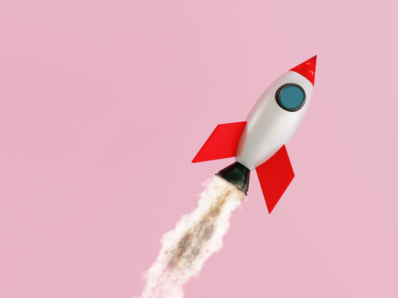 Small space ship flys like a rocket through the air